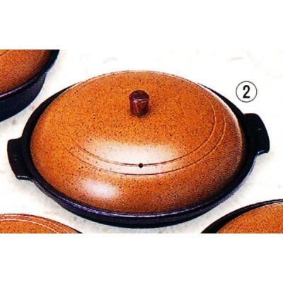 アルミ 丸陶板(かすが)木製ツマミ 深型 品番:20251 陶板焼き皿に 代引不可商品です。