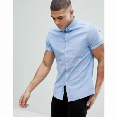 エイソス 半袖シャツ casual skinny short sleeve oxford in light blue Blue