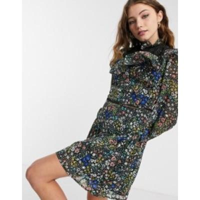 エイソス レディース ワンピース トップス ASOS DESIGN mini smock dress with ruffle eyelet yoke in grid check in floral print Dark