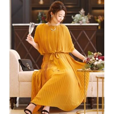ドレス ミモレ丈&袖ありフォーマルラグラン大きいサイズ結婚式ワンピースドレス