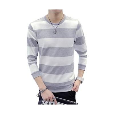 [エムズダイス] メンズ ボーダー Tシャツ カットソー 長袖 トレーナー ロンT トップス ユニセックス XS〜XL (13.グレー M M)