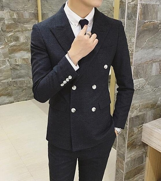 FINDSENSE品牌 韓國男 舒適面料 暗紋 小西裝 修身西裝 西裝外套 單件