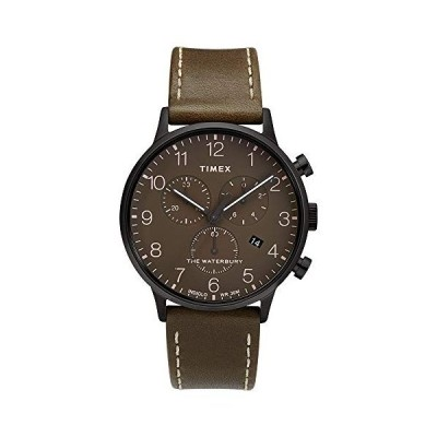 Men's Waterbury Classic Chronograph 40mm Leather Strap Watch, Black/Brown/Olive (BBO/TW2T27900VQ), One Size 並行輸入品