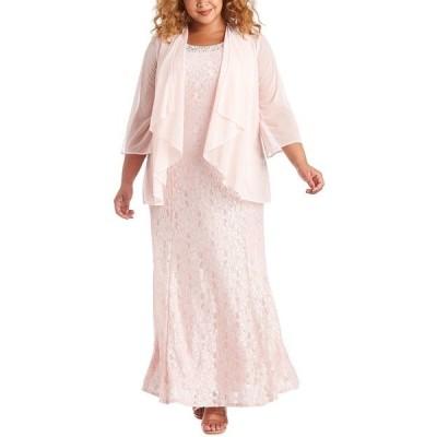 アールアンドエムリチャーズ ワンピース トップス レディース Plus Size Gown & Sheer Overlay Blush