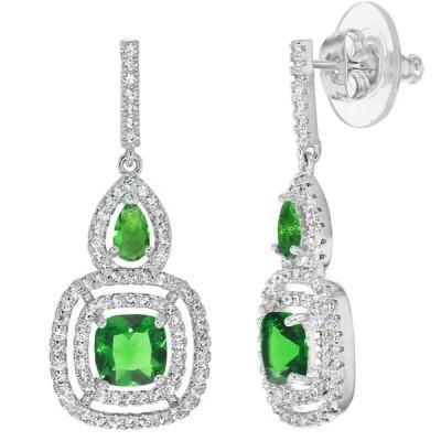 イヤリング イン シーズン ジュエリー Rhodium Plated Elegant Fancy Green CZ Clear Dangle Earrings for Women