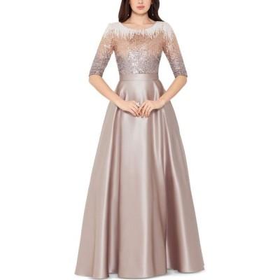 ベッツィアンドアダム Betsy & Adam レディース パーティードレス ワンピース・ドレス Embellished Satin Gown Mocha