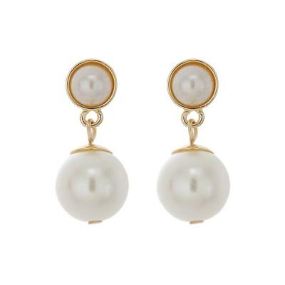 クラウン&アイビー レディース ピアス・イヤリング アクセサリー Gold-Tone Pearl Drop Pierced Earring