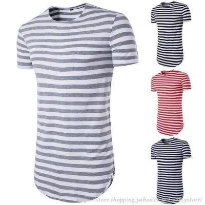 メンズ Tシャツ 半袖 クルーネック ラウンドネック ロング丈 ラウンドカット ボーダーTシャツ カットソー トップス ボーダー柄 シンプル おしゃれ