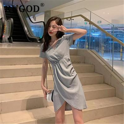 レディースファッション RUGOD夏の女性のドレスエレガントな不規則なミディレディースオフィスドレスvestidos韓国シックなVネック半袖女性ドレス