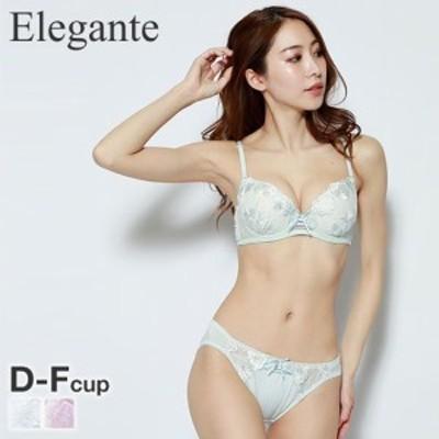 (エレガント)Elegante 大花刺繍 ブラジャー ショーツ セット DEF 大きいサイズ レースアップ プチプラ