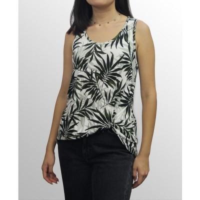コイン1804 カットソー トップス レディース Womens Leaf Print Twist Tank Olive