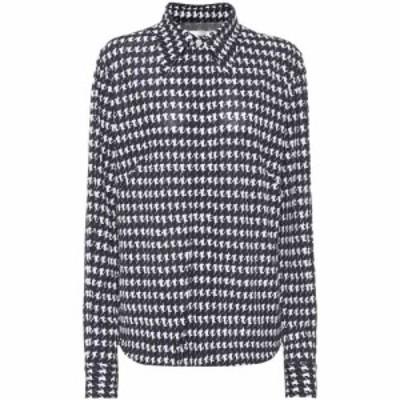 ヴィクトリア ベッカム Victoria Beckham レディース ブラウス・シャツ トップス Houndstooth-print shirt Navy/Off White