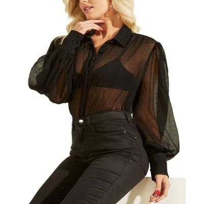 ゲス レディース シャツ トップス Yora Sheer Balloon-Sleeve Shirt