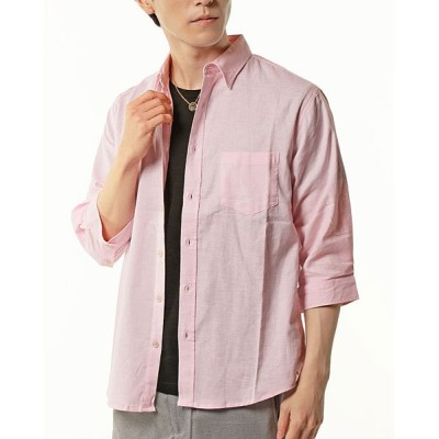 (TopIsm/トップイズム)綿麻リネンストレッチ7分袖シャツ/メンズ ピンク