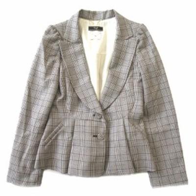 【中古】美品 スウィングル Swingle ウール混 チェック テーラード ジャケット ブレザー 総裏 2B サイズ1 茶×白 ♪1