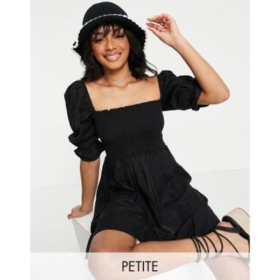 ニュールック New Look Petite レディース ワンピース ミニ丈 ワンピース・ドレス Short Sleeved Textured Shirred Mini Dress In Black ブラック
