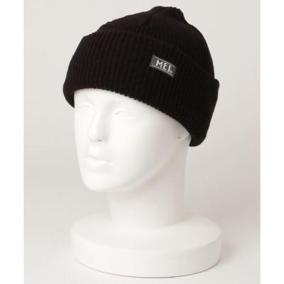 帽子 キャップ 【MEI】ワンポイントロゴ ショートニットキャップ