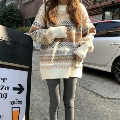 グループ 2019 ゆる い カジュア ル な 女性 プリント セーター 韓国 ルースセーター女性 冬 プル オーバー 11.11_ ダブル 11 シングル スデイ