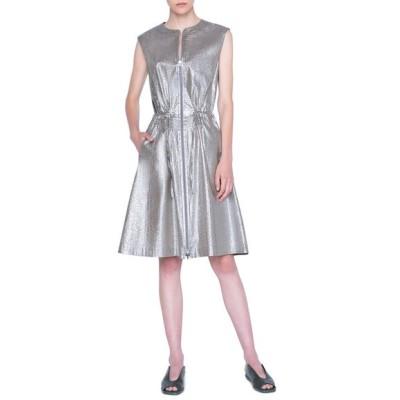 アクリス プント レディース ワンピース トップス Metallic Poplin Zip-Front Dress