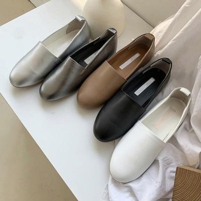 パンプス フラットシューズ 牛革 黒 白 茶色 灰色 銀 ブラック ホワイト ブラウン グレー シルバー レディースシューズ 靴 歩きやすい