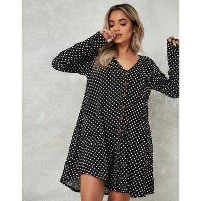 ミスガイデッド レディース ワンピース トップス Missguided button through smock dress with long sleeves in black dalmatian