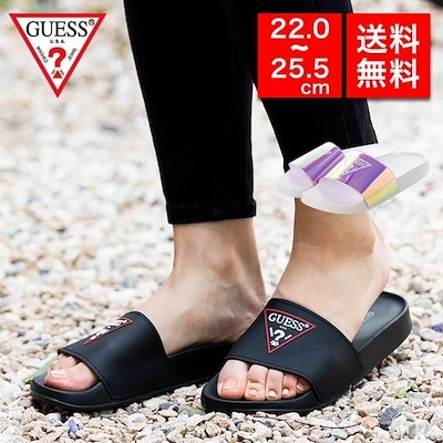GUESS ゲス スライドサンダル gwSYKEY シューズ 靴 おしゃれ 大人カジュアル シンプル 小さいサイズ 大きいサイズ ブラック シンプル アメリカ 派手 ブランド
