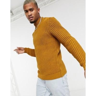 エイソス メンズ ニット・セーター アウター ASOS DESIGN heavyweight fisherman rib turtle neck sweater in mustard