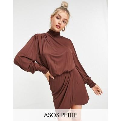 エイソス ASOS Petite レディース ワンピース ラップドレス ミニ丈 ASOS DESIGN Petite shoulder pad open back wrap mini dress in chocolate チョコレート