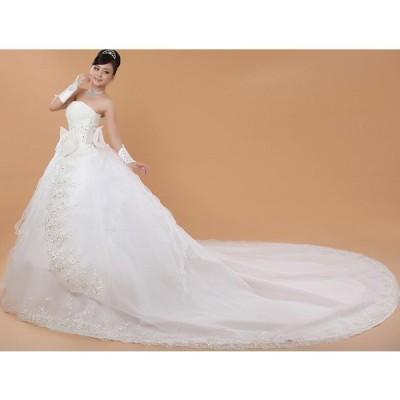 !刺繍シンプルウェディングドレス 豪華なトレーンウェディングドレス☆格安結婚式二次会パーティー披露宴 ビスチェドレス