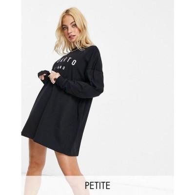 イルサルト Il Sarto Petite レディース ワンピース Tシャツワンピース ワンピース・ドレス Long Sleeve T-Shirt Dress ブラック