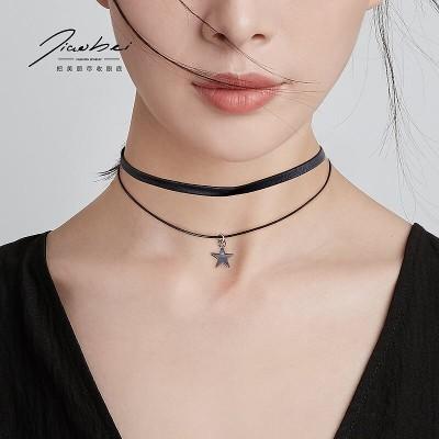 五角星の二重ネックレスの女性の潮ネットの赤い鎖骨の鎖の韓国の首のアクセサリの気質のチョーカーの首の鎖