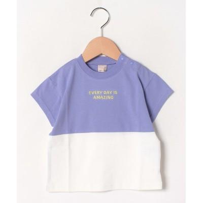 【プティマイン】 リサイクルコットンバイカラーTシャツ キッズ パープル 100 petit main