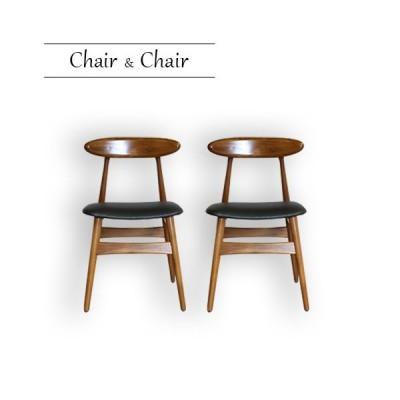 天然木 無垢材 食堂イス 2脚セット ダイニングチェア 椅子 木製 チーク 一人用 おしゃれ 北欧 ブラウン