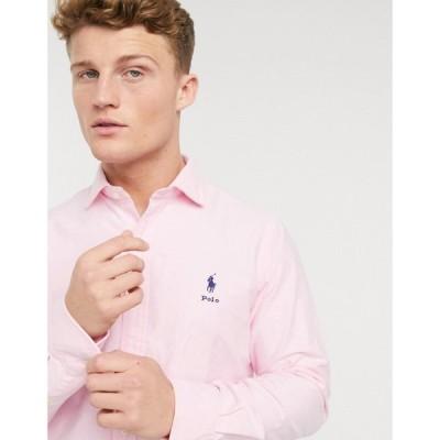 ラルフ ローレン Polo Ralph Lauren メンズ シャツ ワイシャツ トップス player script logo regular fit oxford shirt estate collar in pink ピンク