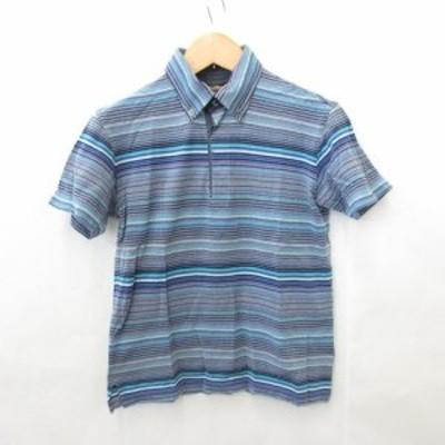 【中古】ポールスチュアート PAUL STUART ポロシャツ 半袖 ボタンダウン スリット ボーダー 綿 コットン マルチカラー M