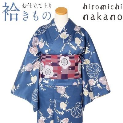 着物 小紋 袷 青藍 双葉葵 M Lサイズ ナカノヒロミチ ブランド レディース 女性 洗える