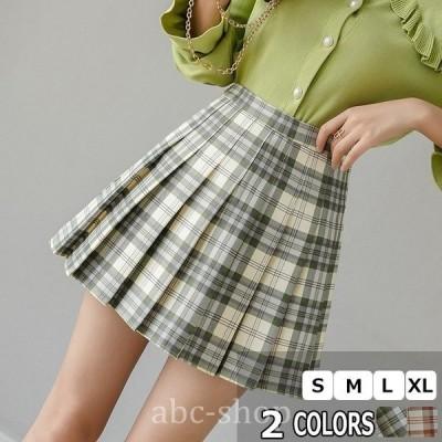 メメメクラゲミニスカートレディースプリーツスカート大きいサイズ秋冬チェック柄ハイウエスト韓国Aライン台形通学可愛い
