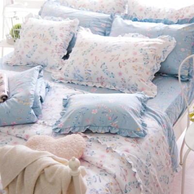 OLIVIA  VIVIEN 加大雙人床包被套四件組 荷葉枕  200織精梳純棉 台灣製