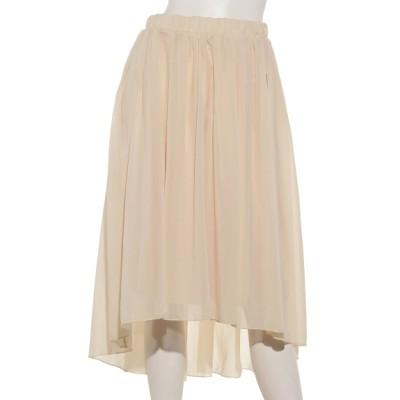 U-BASIC (ユーべーシック) レディース シフォンフレアアンバランススカート beige free