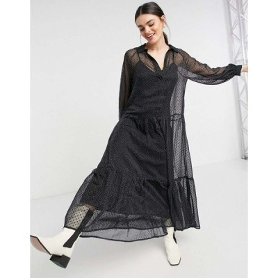 エイソス マキシドレス レディース ASOS DESIGN tiered smock shirt maxi dress in mono dobby spot エイソス ASOS