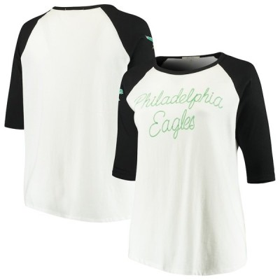 ジャンクフード Tシャツ トップス レディース Philadelphia Eagles Junk Food Women's Plus Size Raglan 3/4-Sleeve T-Shirt White/Black