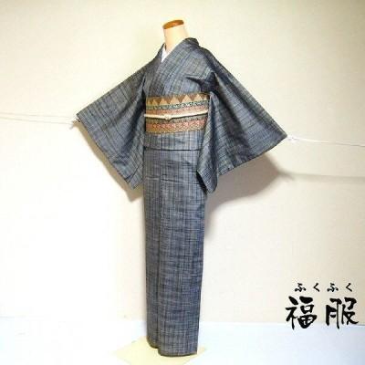 [中古] 紬 正絹 グレー地に格子文様 袷着物 Mサイズ [新宿店在庫] リサイクル  着物 裄63cm あすつく
