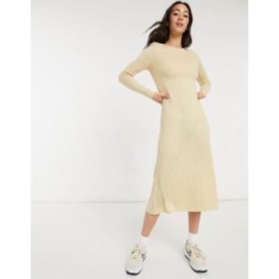 エイソス レディース ワンピース トップス ASOS DESIGN ribbed maxi dress with shoulder pads and relaxed hem Sand