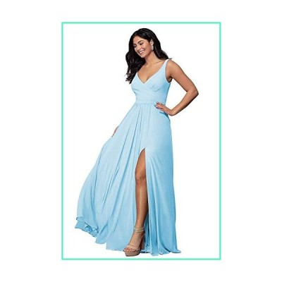 V Neck Bridesmaid Dresses Split Long A Line Pleated Sleeveless Wedding Prom Dress Womens Sky Blue Size 18並行輸入品