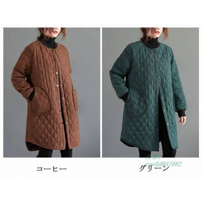 キルティングコート コート キルティング ジャケット 中綿コート 中綿 アウター レディース 防寒 軽量 uネック ロング 冬 ゆったり 無地 羽織 体型カバー
