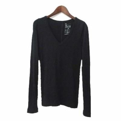 【中古】ギャップ GAP Tシャツ XS 黒 ブラック コットン 長袖 無地 シンプル レディース