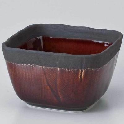 和食器 小鉢 小付/ いぶし渕黒飴釉3.6四角小鉢 /珍味鉢 陶器 業務用 家庭用 Small sized Bowl