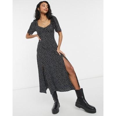 エイソス レディース ワンピース トップス ASOS DESIGN cupped maxi dress with slits in spot print