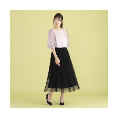 Rose Tiara/ローズティアラ チュールドットフレアスカート ブラック 42