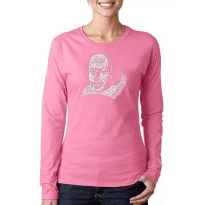 エルエーポップアート Tシャツ トップス レディース Word Art T-Shirt -  Titles of All of William Shakespeare's Comedies & Tragedies. Pink